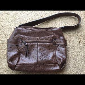 Bueno faux ostrich leather handbag